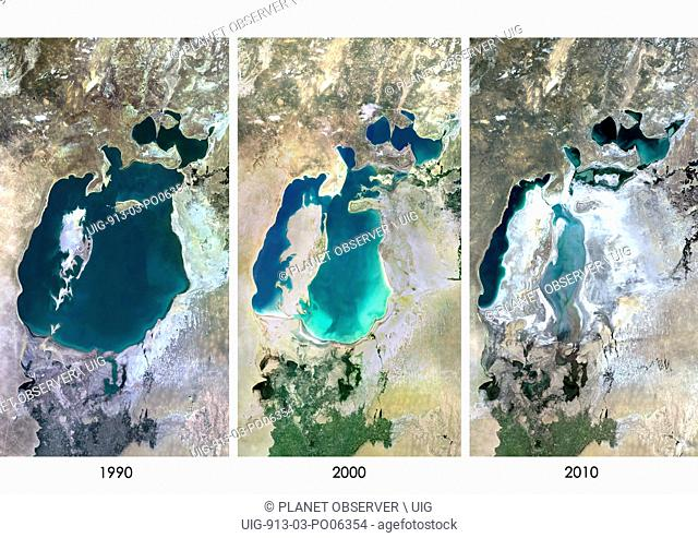 Satellite view of the Aral Sea in 1990, 2000 and 2010. This image shows the shrinking of the Aral Sea over the years