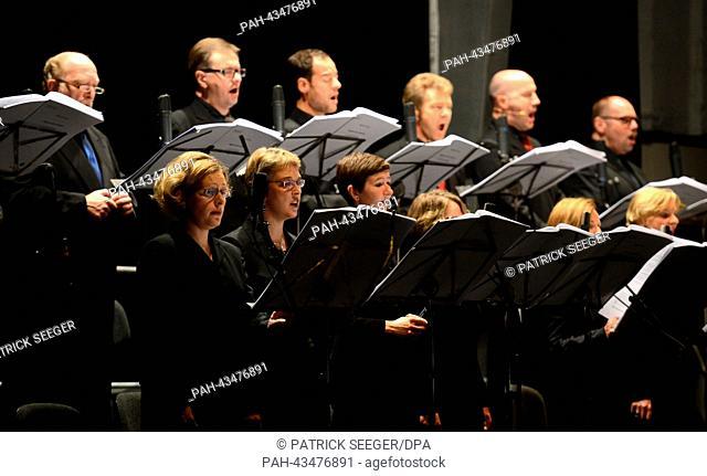 The SWR Vokalensemble Stuttgart performs the piece 'Registre des lumieres' by Raphael Cendo at the Donauschingen Music Festival 2013 in Donauschingen, Germany