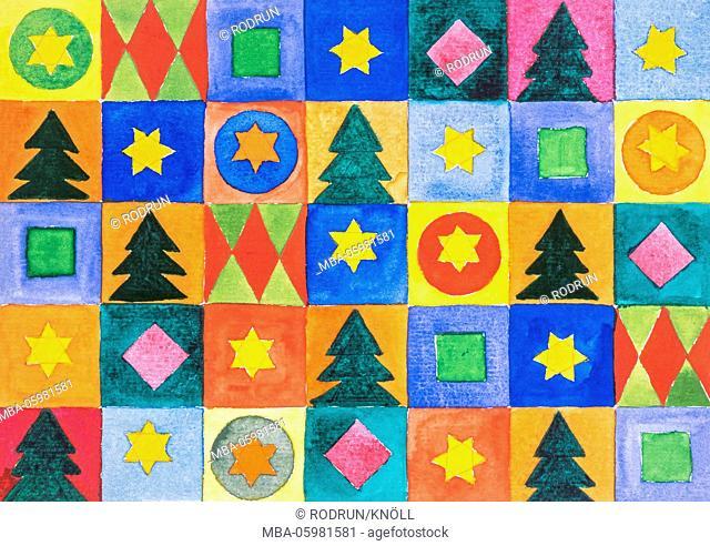Watercolour of Heidrun Füssenhäuser, symbols for Christmas, firs and stars