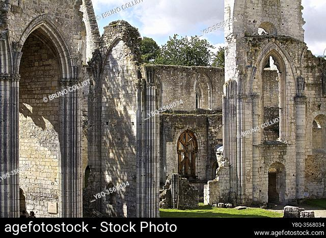 view of the ruins of Jumiéges Abbey. Seine Maritime, Normandy. France. Saint-Pierre de Jumiéges Abbey is a former Benedictine abbey founded by Saint Philibert
