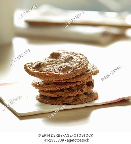 A stack of chocolate chip cookies