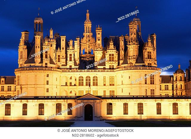 Chambord, Chambord Castle, Chateau de Chambord, Dusk, Loir et Cher, Loire Valley, Loire River, Val de Loire, UNESCO World Heritage Site, France