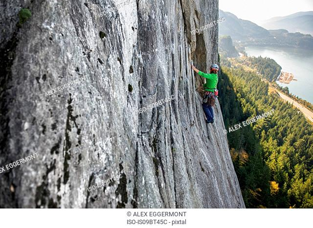 Young female rock climber climbing up rock face, elevated view, The Chief, Squamish, British Columbia, Canada