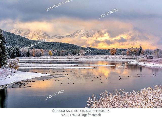 Mount Moran Fall Sunrise following a Snowstorm