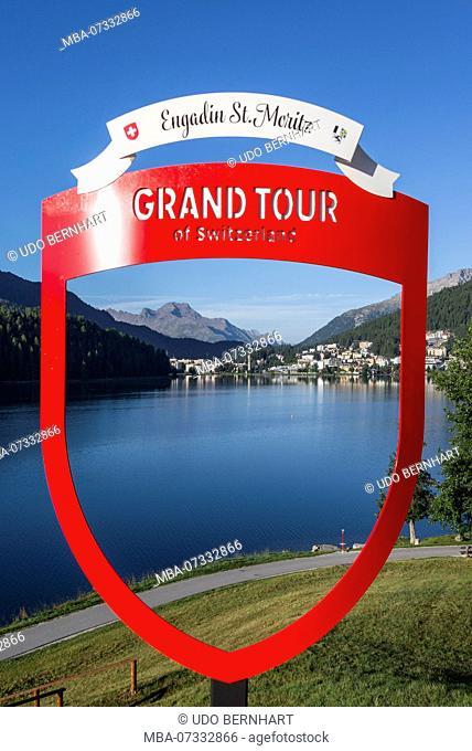 View through sign on Lake St. Moritz, St. Moritz, Upper Engadin, Grisons, Switzerland