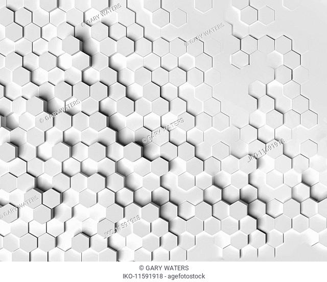 Hexagonal pattern emerging from flat surface