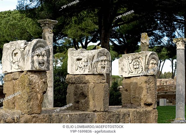 Stone Masks in the Roman Amphitheater  Ostia Antica, Rome, Italy