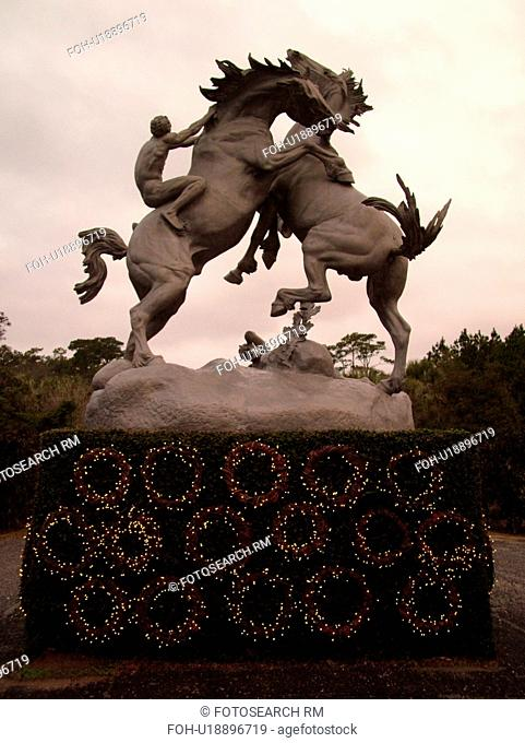 Murrells Inlet, SC, South Carolina, Myrtle Beach, The Grand Strand, Brookgreen Gardens, National Historic Landmark, statue of fighting horses