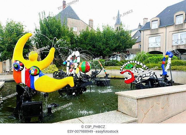 modern fountain by Niki de Saint Phalle, Chateau-Chinon, Burgundy, France
