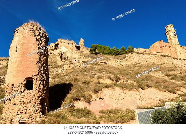 castle and Santa Maria church of Castello de Farfanya, La Noguera, LLeida province, Catalonia, Spain