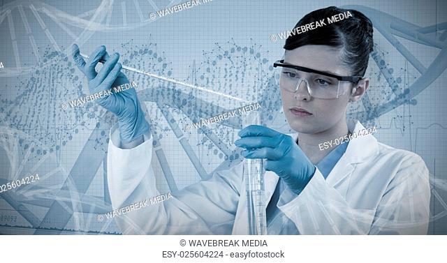 Composite image of female scientist conducting experiment