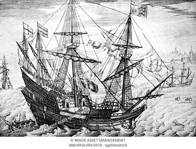 Engraving depicting a British galleon. Dated 18th Century