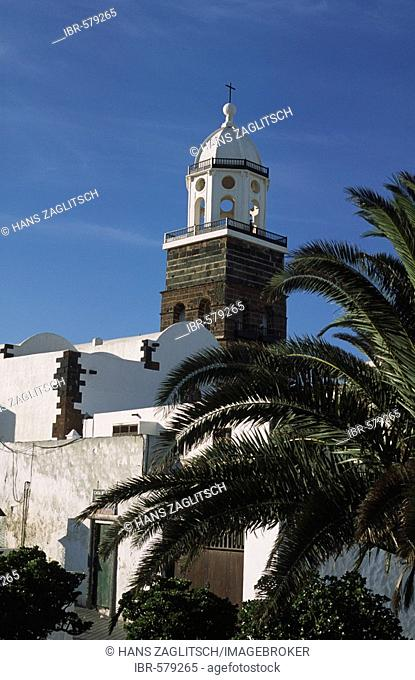 Belltower of the Iglesia Nuestra Senora de Guadelupe, Teguise, Lanzarote, Canary Islands, Spain
