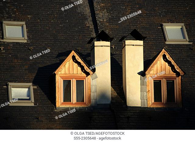 Two windows, roof detail, Vielha, Valle de Aran, Lleida Province, Catalonia, Spain
