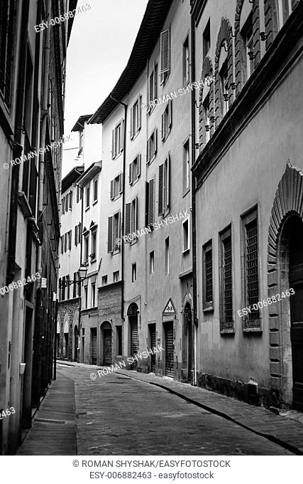 Alley in Florence, Tuscany,Italy. Black and white