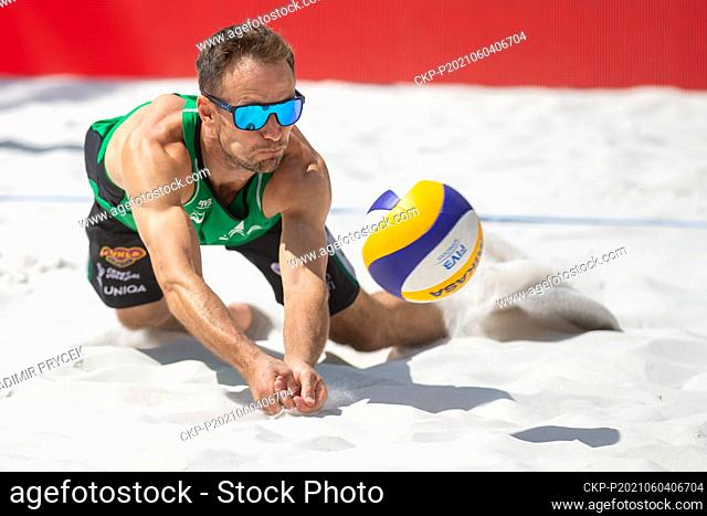 Jan Dumek of Czech Republic in action during the Ostrava Beach Open 2021 tournament, part of the Beach Volleyball World Tour match Vaclav Bercik/Jan Dumek of...