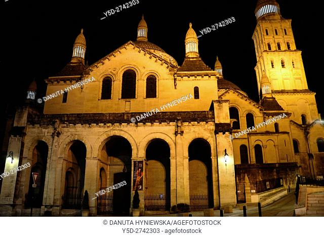 Saint-Front Cathedral at night, old town of Périgueux, World Heritage Sites of the Routes of Santiago de Compostela in France, Dordogne, Aquitaine, France