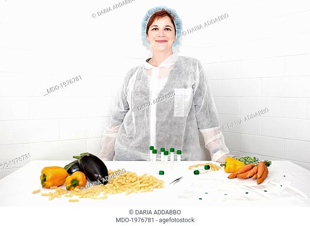 Woman wearing a lab coat. Rome, Italy. 10th May 2014