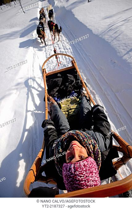 Young woman enjoying wilderness husky sledding taiga tour with Bearhillhusky in Rovaniemi, Lapland, Finland