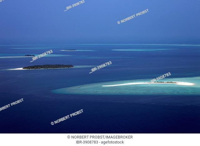 Aerial view, small islands and reefs in the North Ari Atoll, Indian Ocean, Maldives