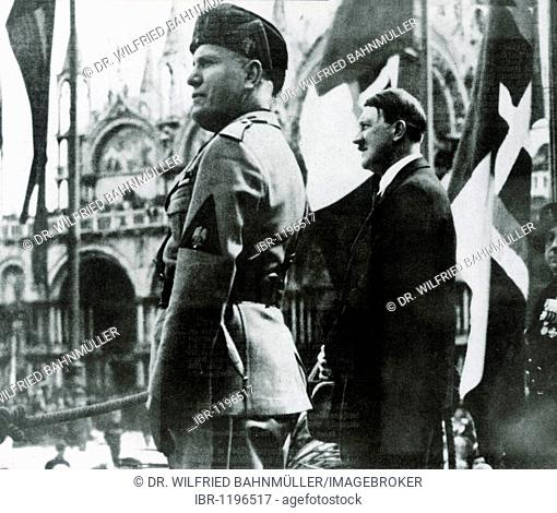 Benito Mussolini and Adolf Hitler during a parade at the Piazza San Marco, Venice, Italy, Europe, historical photo circa 1937