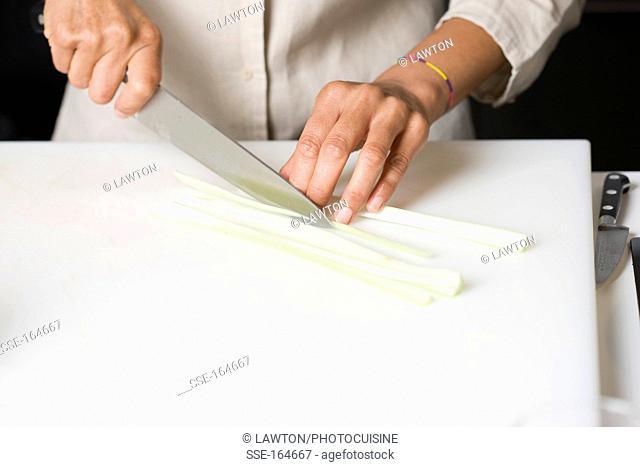 Slicing the celery stalks