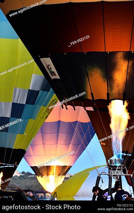 Preparation of the hot air balloons during the XXI Fai Europeans hot air balloon championship 2019
