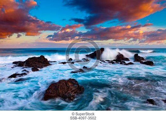 Rock formations in the ocean, Hookipa Beach, Maui, Hawaii, USA