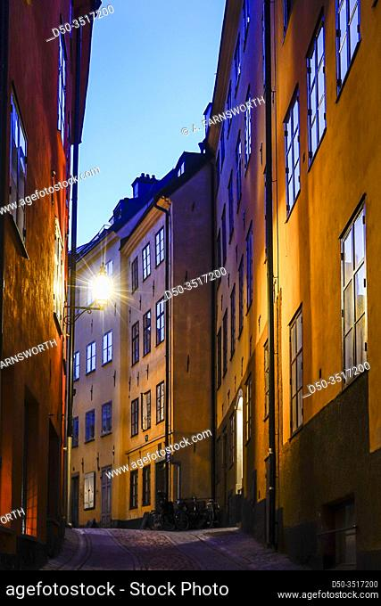 Stockholm, Sweden The Old Town or Gamla Stan at dawn and the Bollhusgrand alley