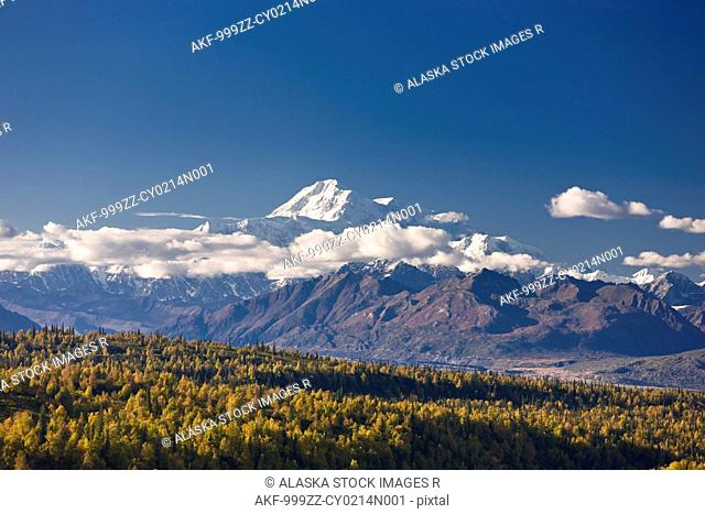 Scenic view of Mt. McKinley and the Alaska Range, Denali State Park, Interior Alaska, Autumn