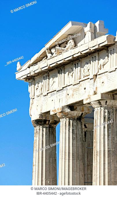 Parthenon temple, detail, Acropolis, Athens, Greece