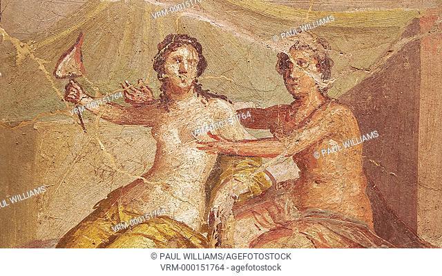 1 cent AD Roman Erotic fresco depicting Mars and Venus Pompeii (VI, 9, 2,) Casa die Meleagro, inv 9250, 1st century AD, Secret Cabinet