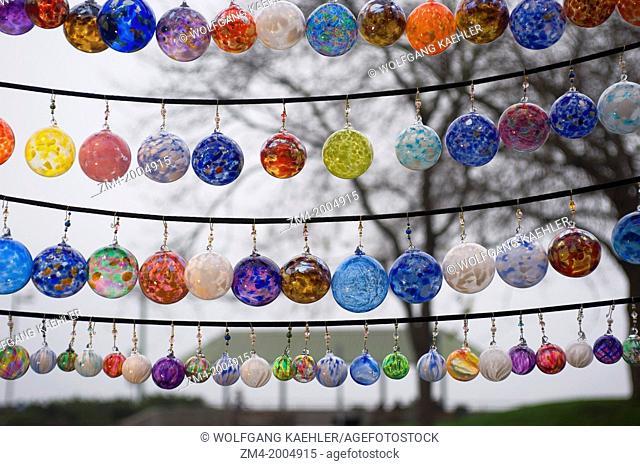 USA, WASHINGTON STATE, SEATTLE, PIKE PLACE MARKET, GLASS CHRISTMAS DECORATIONS FOR SALE