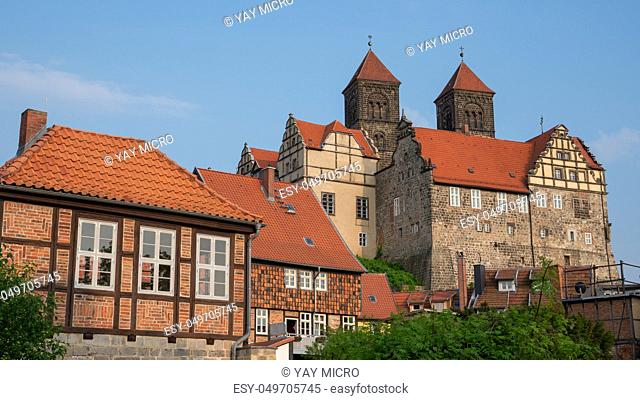 Panoramic image of the convent of Quedlinburg in evening sunlight, Germany, Europe