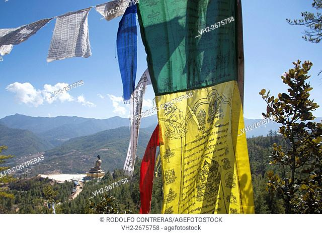 Big Buddha and prayer flags, Thimpu, Bhutan
