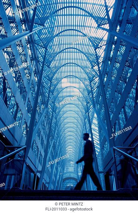 Fv3369, Peter Mintz; Underview, Businessman Walking Through Glass Atrium