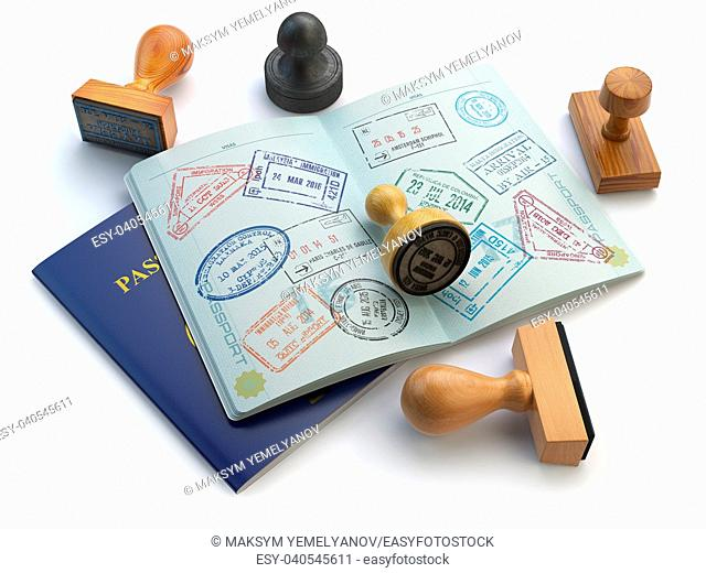 Travel or turism concept. Opened passport with visa stamps and different stampers isolated on white. 3d illustration