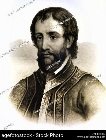 Hernando de Soto portrait. 19th Century engraving. First European documented as having crossed the Mississippi River