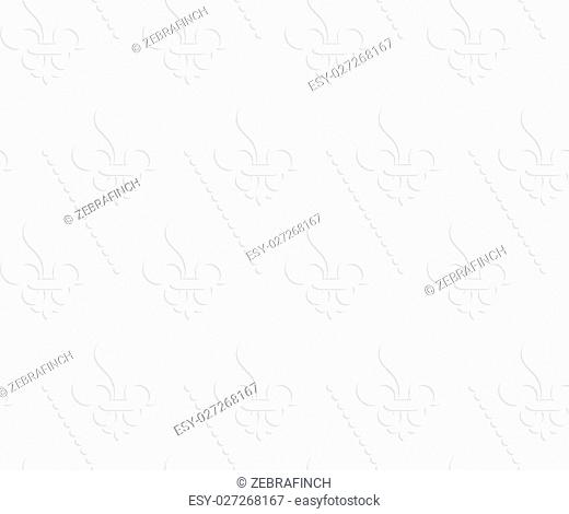White 3D solid Fleur-de-lis with dots.Seamless geometric background. Modern monochrome 3D texture. Pattern with realistic shadow and cut out of paper effect