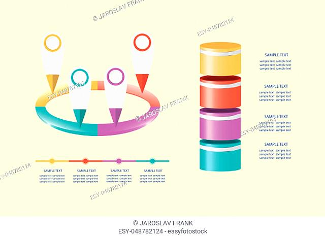 Infographic of process in four steps vector. All is on the yellow background