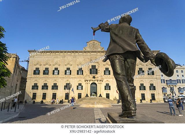 statue of Manwel Dimech in front of the Auberge de Castille, Castille Square, Valletta, Malta