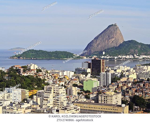 Brazil, City of Rio de Janeiro, Santa Teresa Neighbourhood, View over Catete and Flamengo towards Sugarloaf Mountain from Parque das Ruinas