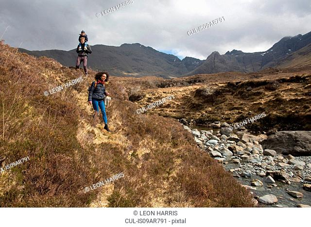 Family hiking, Fairy Pools, Isle of Skye, Hebrides, Scotland