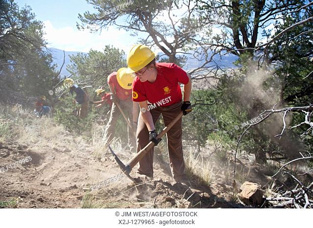 Salida, Colorado - A crew from the Southwest Conservation Corps builds a mountain bike trail on land administered by the U S  Bureau of Land Management  Modeled...