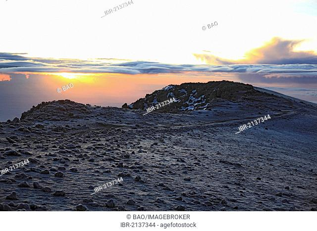 Sunrise at the crater of Mount Kilimanjaro, Tanzania, Africa