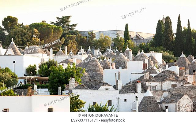 Trulli, the typical old houses in Alberobello in Puglia, Italy