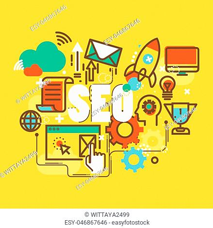 Set of modern vector illustration,SEO, social marketing, to publishing and launch.website and mobile website, easy to use and highly customizable,Set of thin