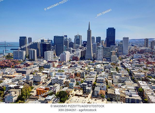 Financial district seen from Coit tower, San Francisco, California, USA