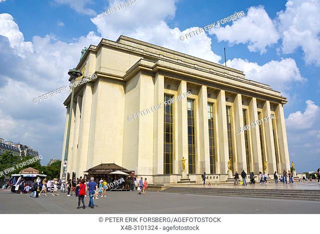 Theatre National de Chaillot and Cite de l'architecture et du patrimoine, architecture and monument museum, Place de Trocadero, Paris, France