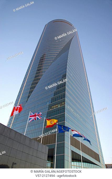 Espacio Tower and flags waving. CTBA, Madrid, Spain